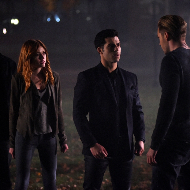 "SHADOWHUNTERS - ""By The Light Of Dawn"" - Valentine's plan is in full effect and the Shadowhunters must act fast to save the Downworld in ""By the Light of Dawn,"" the spring finale of ""Shadowhunters,"" airing MONDAY, MARCH 6 (8:00 – 9:01 p.m. EST), on Freeform. (Freeform/John Medland) HARRY SHUM JR., KATHERINE MCNAMARA, DAVID CASTRO, DOMINIC SHERWOOD"