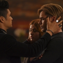 "SHADOWHUNTERS - ""By The Light Of Dawn"" - Valentine's plan is in full effect and the Shadowhunters must act fast to save the Downworld in ""By the Light of Dawn,"" the spring finale of ""Shadowhunters,"" airing MONDAY, MARCH 6 (8:00 – 9:01 p.m. EST), on Freeform. (Freeform/John Medland) HARRY SHUM JR., KATHERINE MCNAMARA, DOMINIC SHERWOOD"