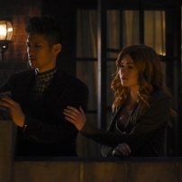"SHADOWHUNTERS - ""By The Light Of Dawn"" - Valentine's plan is in full effect and the Shadowhunters must act fast to save the Downworld in ""By the Light of Dawn,"" the spring finale of ""Shadowhunters,"" airing MONDAY, MARCH 6 (8:00 – 9:01 p.m. EST), on Freeform. (Freeform/John Medland) HARRY SHUM JR., KATHERINE MCNAMARA"