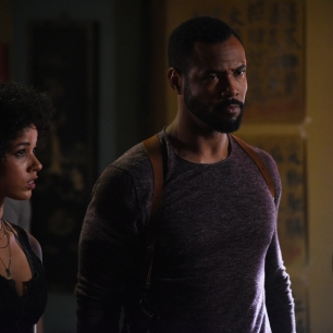 "SHADOWHUNTERS - ""Mea Maxima Culpa"" - Everyone is dealing with the aftermath of the Soul Sword attack at the Institute in ÒMea Maxima Culpa,Ó the summer premiere of ÒShadowhunters,Ó airing MONDAY, JUNE 5 (8:00 - 9:00 PM EDT) on Freeform and on the Freeform app. (Freeform/John Medland) ALISHA WAINWRIGHT, ISAIAH MUSTAFA"