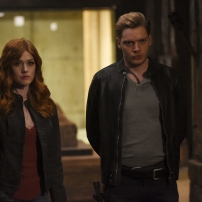"SHADOWHUNTERS - ""Mea Maxima Culpa"" - Everyone is dealing with the aftermath of the Soul Sword attack at the Institute in ÒMea Maxima Culpa,Ó the summer premiere of ÒShadowhunters,Ó airing MONDAY, JUNE 5 (8:00 - 9:00 PM EDT) on Freeform and on the Freeform app. (Freeform/John Medland) KATHERINE MCNAMARA, DOMINIC SHERWOOD"