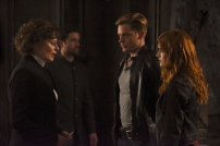 "SHADOWHUNTERS - ""Mea Maxima Culpa"" - Everyone is dealing with the aftermath of the Soul Sword attack at the Institute in ÒMea Maxima Culpa,Ó the summer premiere of ÒShadowhunters,Ó airing MONDAY, JUNE 5 (8:00 - 9:00 PM EDT) on Freeform and on the Freeform app. (Freeform/John Medland) MIMI KUZYK, RYAN GRAHAM, DOMINIC SHERWOOD, KATHERINE MCNAMARA"