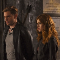 "SHADOWHUNTERS - ""Mea Maxima Culpa"" - Everyone is dealing with the aftermath of the Soul Sword attack at the Institute in ÒMea Maxima Culpa,Ó the summer premiere of ÒShadowhunters,Ó airing MONDAY, JUNE 5 (8:00 - 9:00 PM EDT) on Freeform and on the Freeform app. (Freeform/John Medland) DOMINIC SHERWOOD, KATHERINE MCNAMARA"
