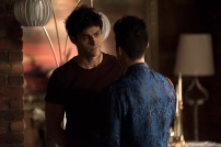 """SHADOWHUNTERS - """"A Problem with Memory"""" - Simon goes down a dark path while Alec and team prepares to transport Valentine in ÒA Problem of Memory,Ó an all-new episode of """"Shadowhunters"""" airing Monday, July 10th at 8:00 - 9:00 PM ET/PT. (Freeform/John Medland) MATTHEW DADDARIO, HARRY SHUM JR."""