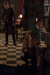 """SHADOWHUNTERS - """"A Dark Reflection"""" - Clary struggles with the idea that her brother Jonathan is pure evil when it appears he is hunting down the mortal mirror for ValentineÕs use in ÒA Dark Reflection,Ó an all new episode of ÒShadowhuntersÓ airing on Monday, July 24th at 8:00 - 9:00 PM ET/PT. (Freeform/John Medland) DOMINIC SHERWOOD, KATHERINE MCNAMARA"""