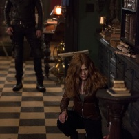 "SHADOWHUNTERS - ""A Dark Reflection"" - Clary struggles with the idea that her brother Jonathan is pure evil when it appears he is hunting down the mortal mirror for ValentineÕs use in ÒA Dark Reflection,Ó an all new episode of ÒShadowhuntersÓ airing on Monday, July 24th at 8:00 - 9:00 PM ET/PT. (Freeform/John Medland) DOMINIC SHERWOOD, KATHERINE MCNAMARA"