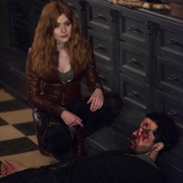 "SHADOWHUNTERS - ""A Dark Reflection"" - Clary struggles with the idea that her brother Jonathan is pure evil when it appears he is hunting down the mortal mirror for ValentineÕs use in ÒA Dark Reflection,Ó an all new episode of ÒShadowhuntersÓ airing on Monday, July 24th at 8:00 - 9:00 PM ET/PT. (Freeform/John Medland) KATHERINE MCNAMARA, ZACH SMADU"