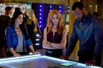 """SHADOWHUNTERS - """"On Infernal Ground"""" - In the season three premiere, secrets abound as the Shadowhunters and Downworlders try to get back to normal after ValentineÕs death. This episode of """"Shadowhunters"""" airs Tuesday, March 20 (8:00 - 9:00 P.M. ET/PT) on Freeform. (Freeform/John Medland) EMERAUDE TOUBIA, KATHERINE MCNAMARA, ISAIAH MUSTAFA"""