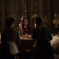 "SHADOWHUNTERS - ""What Lies Beneath"" - The Shadowhunters try to track down the new imposing threat, while Jace has a suspicion that Jonathan is back and behind the mundane attacks. Simon tries to figure out what The Seelie Queen did to him during his time in the glade. Alec decides to host a Lightwood family dinner at MagnusÕ house after a surprising visit from Maryse. This episode of ""Shadowhunters"" airs Tuesday, April 3 (8:00 - 9:00 p.m. EDT) on Freeform. (Freeform/John Medland) MATTHEW DADDARIO, NICOLA CORREIA-DAMUDE, HARRY SHUM JR."