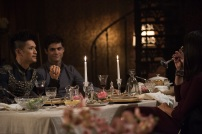 """SHADOWHUNTERS - """"What Lies Beneath"""" - The Shadowhunters try to track down the new imposing threat, while Jace has a suspicion that Jonathan is back and behind the mundane attacks. Simon tries to figure out what The Seelie Queen did to him during his time in the glade. Alec decides to host a Lightwood family dinner at MagnusÕ house after a surprising visit from Maryse. This episode of """"Shadowhunters"""" airs Tuesday, April 3 (8:00 - 9:00 p.m. EDT) on Freeform. (Freeform/John Medland) HARRY SHUM JR., MATTHEW DADDARIO, NICOLA CORREIA-DAMUDE"""