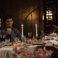 "SHADOWHUNTERS - ""What Lies Beneath"" - The Shadowhunters try to track down the new imposing threat, while Jace has a suspicion that Jonathan is back and behind the mundane attacks. Simon tries to figure out what The Seelie Queen did to him during his time in the glade. Alec decides to host a Lightwood family dinner at MagnusÕ house after a surprising visit from Maryse. This episode of ""Shadowhunters"" airs Tuesday, April 3 (8:00 - 9:00 p.m. EDT) on Freeform. (Freeform/John Medland) HARRY SHUM JR., MATTHEW DADDARIO, NICOLA CORREIA-DAMUDE"