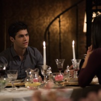 "SHADOWHUNTERS - ""What Lies Beneath"" - The Shadowhunters try to track down the new imposing threat, while Jace has a suspicion that Jonathan is back and behind the mundane attacks. Simon tries to figure out what The Seelie Queen did to him during his time in the glade. Alec decides to host a Lightwood family dinner at MagnusÕ house after a surprising visit from Maryse. This episode of ""Shadowhunters"" airs Tuesday, April 3 (8:00 - 9:00 p.m. EDT) on Freeform. (Freeform/John Medland) MATTHEW DADDARIO, NICOLA CORREIA-DAMUDE"