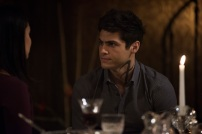 """SHADOWHUNTERS - """"What Lies Beneath"""" - The Shadowhunters try to track down the new imposing threat, while Jace has a suspicion that Jonathan is back and behind the mundane attacks. Simon tries to figure out what The Seelie Queen did to him during his time in the glade. Alec decides to host a Lightwood family dinner at MagnusÕ house after a surprising visit from Maryse. This episode of """"Shadowhunters"""" airs Tuesday, April 3 (8:00 - 9:00 p.m. EDT) on Freeform. (Freeform/John Medland) NICOLA CORREIA-DAMUDE, MATTHEW DADDARIO"""