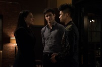 """SHADOWHUNTERS - """"What Lies Beneath"""" - The Shadowhunters try to track down the new imposing threat, while Jace has a suspicion that Jonathan is back and behind the mundane attacks. Simon tries to figure out what The Seelie Queen did to him during his time in the glade. Alec decides to host a Lightwood family dinner at Magnus' house after a surprising visit from Maryse. This episode of """"Shadowhunters"""" airs Tuesday, April 3 (8:00 - 9:00 p.m. EDT) on Freeform. (Freeform/John Medland) NICOLA CORREIA-DAMUDE, MATTHEW DADDARIO, HARRY SHUM JR."""
